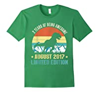 Born August 2 Limited Edition 2nd Birthday Dinosaur Shirts Forest Green