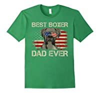 Best Boxer Dad Ever Dog Lover American Flag Gift Shirts Forest Green