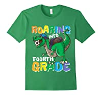 Roaring Into Fourth Grade 4 Dinosaur Back To School Soccer Shirts Forest Green