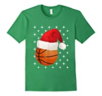 Christmas Stars Basketball Ball Santa Hat Funny Sports Xmas T-shirt Forest Green