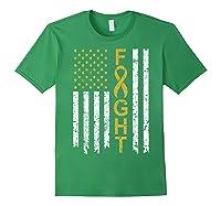 Childhood Cancer Awareness T-shirt American Flag Distresse T-shirt Forest Green