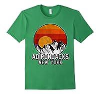 Adirondacks Retro Mountain Sunset Shirts Forest Green
