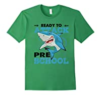 Ready To Attack Preschool Funny Shark Back To School T Shirts Forest Green