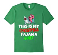 This Is My Christmas Pajama T Shirt Santa Riding Shark Gift Forest Green