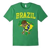 Brazil Soccer Boy Brazilian Football Dabbing Shirts Forest Green