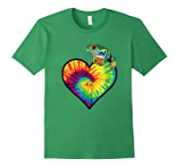 Tie-dye Heart Love Tree Frog Cute Funny Colorful T-shirt Forest Green