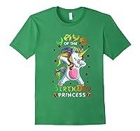 Yaya Of The Birthday Princess Unicorn Girl T-shirt Forest Green