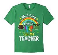 Rainbow Shamrock My Lucky Charms Call Me Tea Shirts Forest Green
