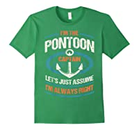 Retro Pontoon Boat Owner Gift I'm The Pontoon Boat Captain Shirts Forest Green