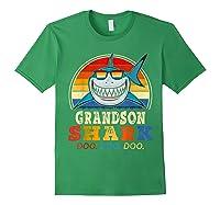 Vintage Grandson Shark T-shirt Birthday Gifts For Family Forest Green