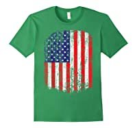 Distressed American Flag, Patriotic Shirts Forest Green