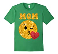 Emoji Gift For Mom Kissing Emoji Heart Mothers Day Shirts Forest Green