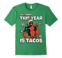 Deadpool Santa Hat I Want Tacos Christmas Shirts Forest Green