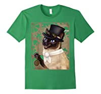 Steampunk Cat - Siamese With A Top Hat, Goggles, And Gears T-shirt Forest Green