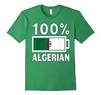Algeria Flag T Shirt 100 Algerian Battery Power Tee Forest Green