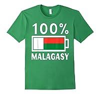 Madagascar Flag T Shirt 100 Malagasy Battery Power Tee Forest Green