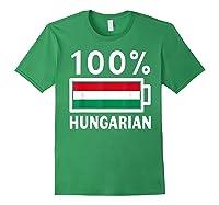 Hungary Flag T Shirt 100 Hungarian Battery Power Tee Forest Green