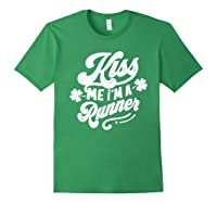 Saint Patrick S Day Kiss Me I M A Runner Funny T Shirt Forest Green