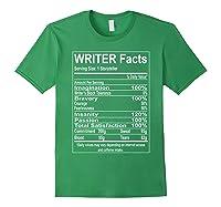 Writer Facts Storyteller Nutrition Information T Shirt Forest Green
