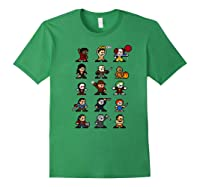 Friends Pixel Halloween Icons Scary Horror Movies Premium T Shirt Forest Green