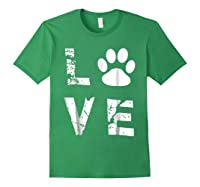 Love Animal Pet Dog Cat Paw Valentine S Day Funny T Shirt Forest Green