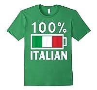 Italy Flag T Shirt 100 Italian Battery Power Tee Forest Green