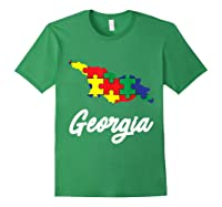 Autism Awareness Day Georgia Puzzle Pieces Gift Shirts Forest Green
