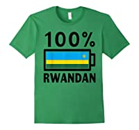 Rwanda Flag T-shirt   100% Rwandan Battery Power Tee Forest Green
