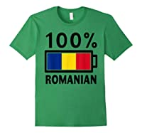 Romania Flag T Shirt 100 Romanian Battery Power Tee Forest Green