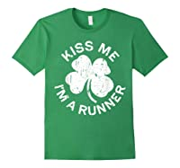 Kiss Me I M A Runner T Shirt Saint Patrick Day Gift Shirt Forest Green