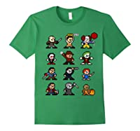 Friends Pixel Halloween Icons Scary Horror Movies T Shirt Forest Green