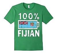 Fiji Flag T Shirt 100 Fijian Battery Power Tee Forest Green