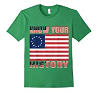 Betsy Ross Flag 1776 Vintage American Know Your History T Shirt Forest Green