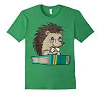 Cute Unique Bookworm Reading Hedgehog Gift Shirts Forest Green