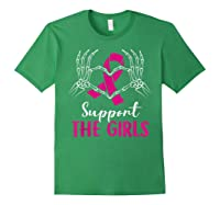 Support The Girls Boobs Hand Skeleton Breast Cancer Funny T Shirt Forest Green