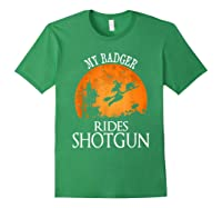 Badger Rides Shotgun Animal Lover Halloween Party Gift Shirts Forest Green