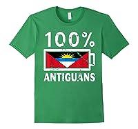 Antigua Barbuda Flag Shirt 100 Antiguans Battery Power Forest Green