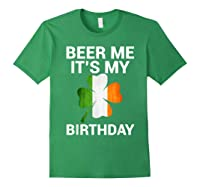 Beer Me It's My Birthday Ireland Flag Clover Gift Shirts Forest Green