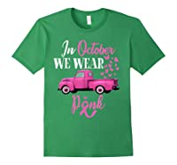 October Breast Cancer Awareness Month Pumpkin Vintage Truck T Shirt Forest Green