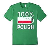 Poland Flag T Shirt 100 Polish Battery Power Tee Forest Green