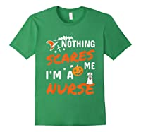 Nothing Scares Me I'm A Nurse Funny Halloween Gift Shirts Forest Green