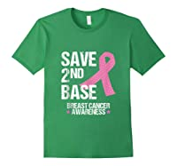 Save 2nd Base Breast Cancer Awareness Month Pink Ribbon Gift Tank Top Shirts Forest Green