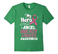 My Hero Is Now My Angel Breast Cancer Awareness Tshirt Gifts T Shirt Forest Green