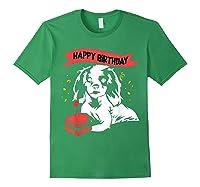 Happy Birthday Cavalier King Charles Spaniel Dog Tshirt Forest Green