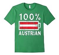 Austria Flag T Shirt 100 Austrian Battery Power Tee Forest Green