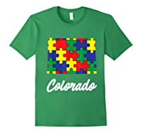 Autism Awareness Day Colorado Puzzle Pieces Gift Shirts Forest Green