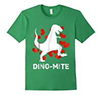 Dino Mite T Rex Dinosaur Valentine S Day Funny T Shirt Forest Green