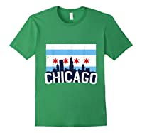 Chicago Flag Skyline Shirt Chi Town Pride City Flag Gift T Shirt Forest Green