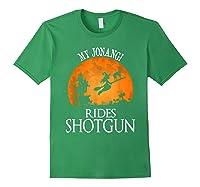 Jonangi Rides Shotgun Dog Lover Halloween Party Gift T-shirt Forest Green