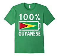 Guyana Flag T Shirt 100 Guyanese Battery Power Tee Forest Green